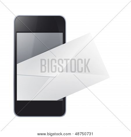 Realistic Phone With Envelope Inside. Vector Design.