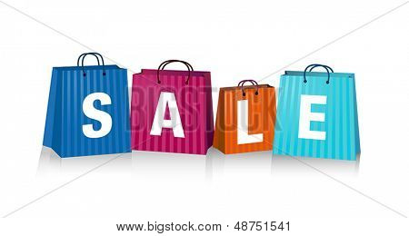 Sales background with colorful shopping bags.
