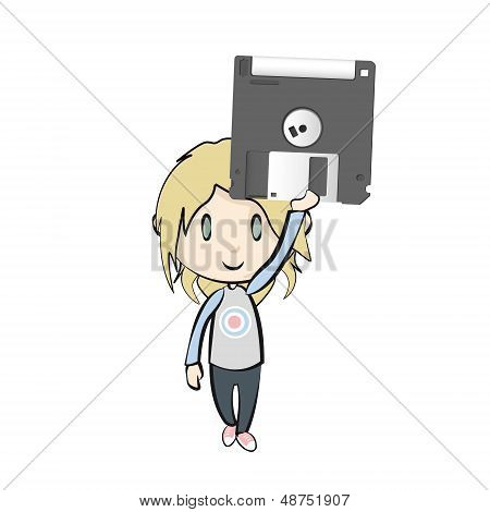 Black Diskette On White Background. Vector Design.