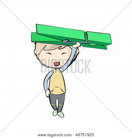 Kid Holding Clothespin