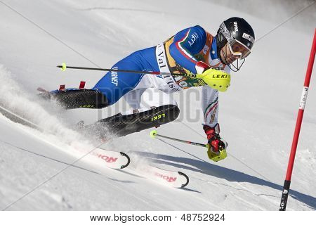 VAL D'ISERE FRANCE. 12-12-2010. THALER Patrick ITA attacks a control gate during the FIS alpine skiing world cup slalom race on the Bellevarde race piste Val D'Isere.