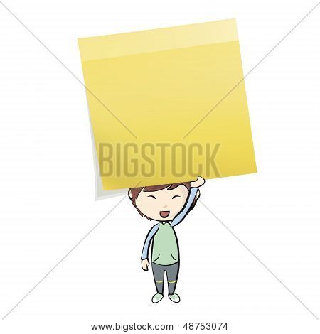 Kid Holding Yellow Post-it. Vector Design