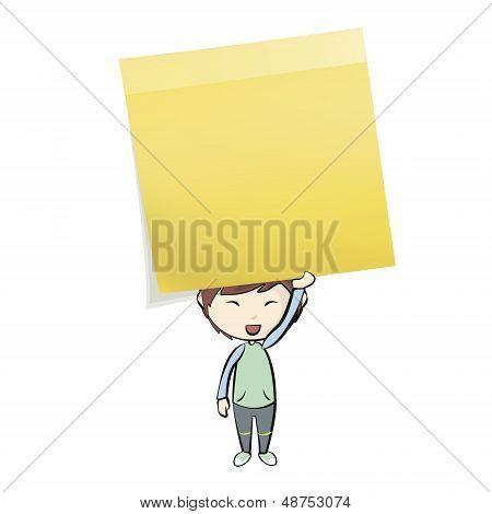 Kid Holding Yellow Post-it. Vector Design