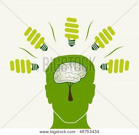 Green Life Concept Head Illustration