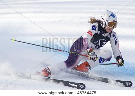 LIENZ, AUSTRIA 28 December 2009. Tina Weirather LIE speeds down the course while competing in the first run of the women's Audi FIS Alpine Skiing World Cup giant slalom race.