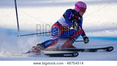 LIENZ, AUSTRIA 28 December 2009. Chemmy Alcott GBR speeds down the course while competing in the first run of the women's Audi FIS Alpine Skiing World Cup giant slalom race.