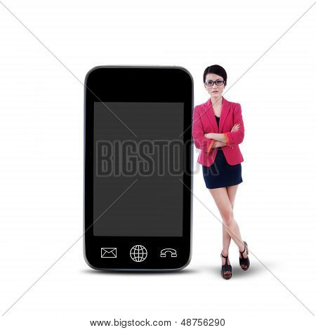 Businesswoman And Smartphone - Isolated
