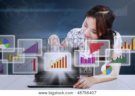Businesswoman Showing Marketing Report Diagram