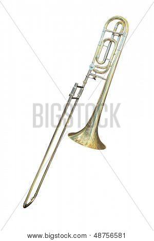 trombone isolated under the white background