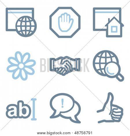 Línea contorno serie de Internet iconos, azul