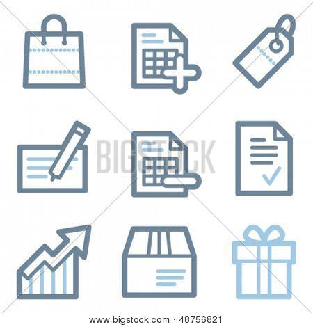 Shopping icons, blue line contour series