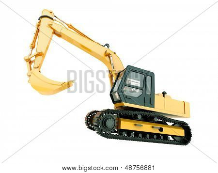Construction heavy machine: excavator isolated on white background