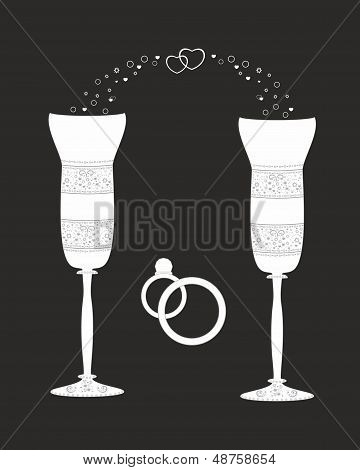 Beautiful wedding glasses with decorative pattern.Illustration.Vector