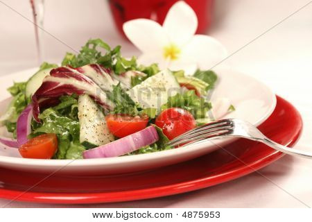 Healthy Salad On A Red Plate