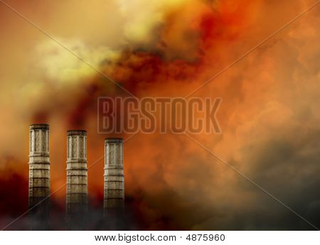 Smoke Stacks With Pollution Smoke