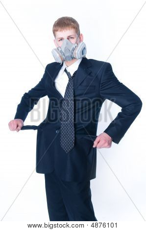 Crazy Businessman With Empty Pockets, Wearing Gasmask