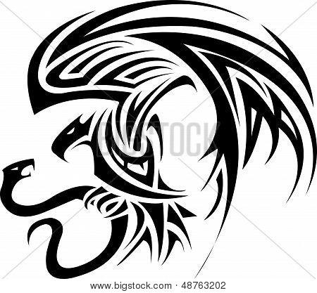 Phoenix bird battle snakes for tattoo design