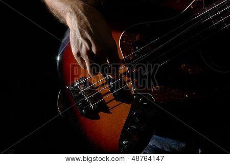 Playing an bass guitar