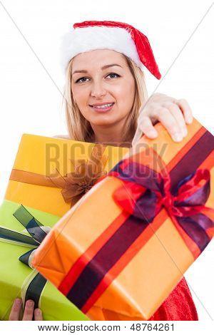 Christmas Woman Giving Presents