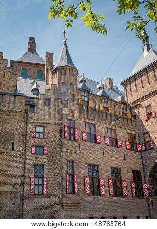 Castle De Haar, The Netherlands, with its typical red and white window shutters