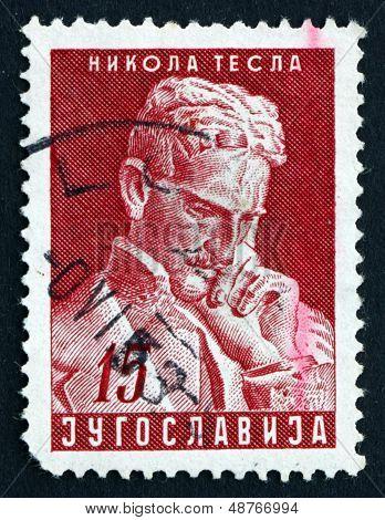 Postage Stamp Yugoslavia 1953 Nikola Tesla, Inventor