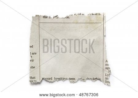 Piece of torn paper isolated on plain background. Copy space