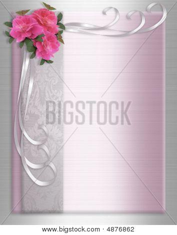 Rosas de invitación en cintas de raso de novia