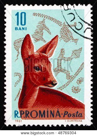 Postage Stamp Romania 1961 Roe Deer, Capreolus Capreolus