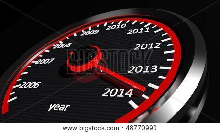 Conceptual 2014 year speedometer