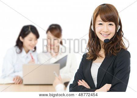 Beautiful business operator on white background