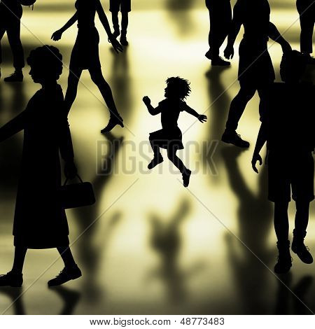 Illustrated silhouette of a young girl skipping in a crowded hall