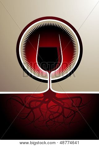 Red wine icon with the glass as the vine