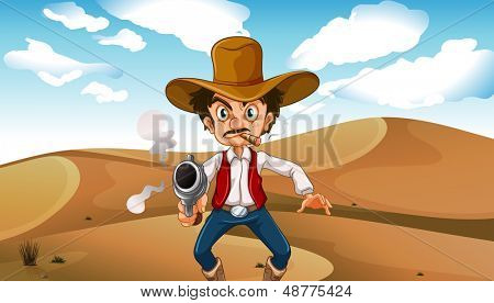 Illustration of a cowboy smoking with a gun at the desert