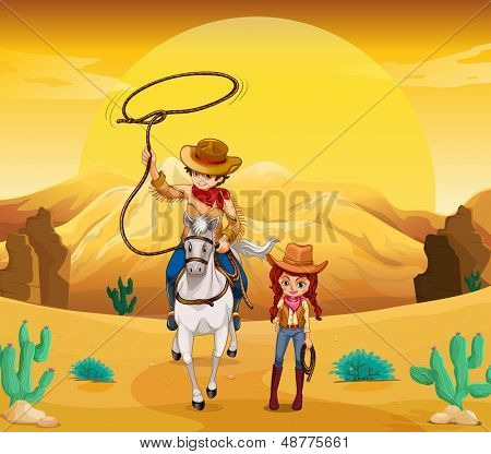 Illustration of a cowboy and a cowgirl at the desert