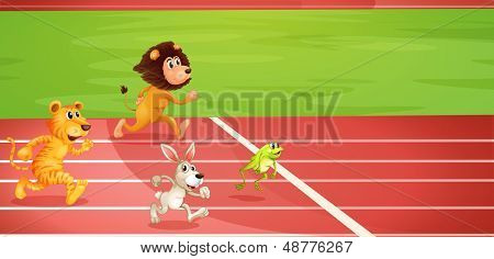 Illustration of the four animals doing a race