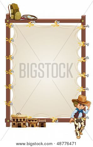Illustration of an empty frame banner with a cowboy and saloon bars on a white background