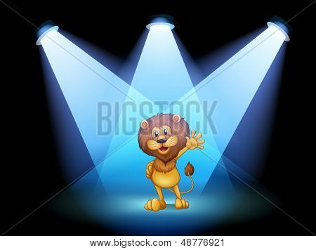 Illustration of a stage with a lion waving in the middle