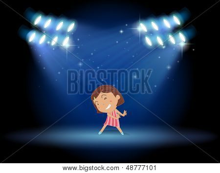Illustration of a little girl dancing in the middle of the stage