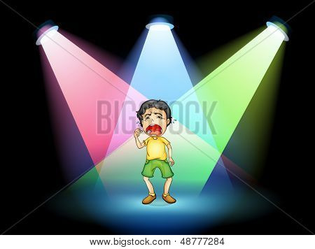 Illustration of a boy crying at the stage