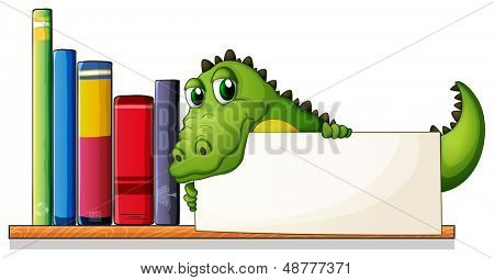 Illustration of a crocodile holding an empty board above the wooden shelf with books on a white background