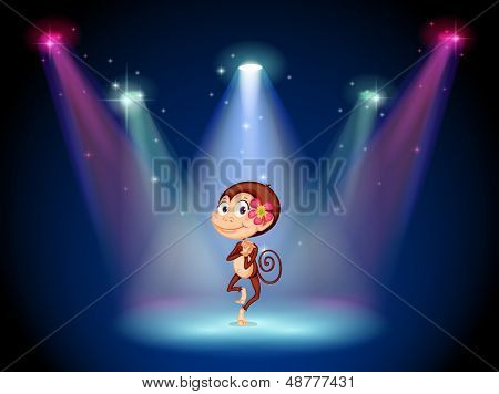 Illustration of a monkey dancing at the center of the stage