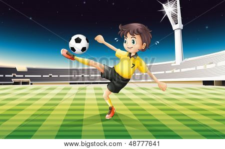 Illustration of a boy in his yellow uniform playing soccer at the field