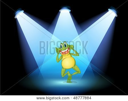 Illustration of a frog smiling in the middle of the stage