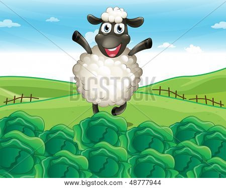 Illustration of a sheep above the hill with a farm