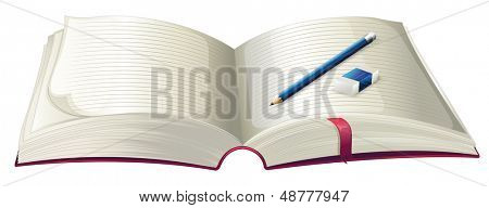 Illustration of a book with a pencil and an eraser on a white background