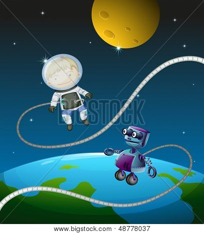 Illustration of an astronaut and a robot