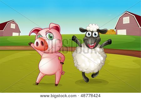 Illustration of a pig and a sheep dancing at the farm