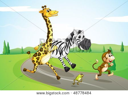 Illustration of the animals running at the street