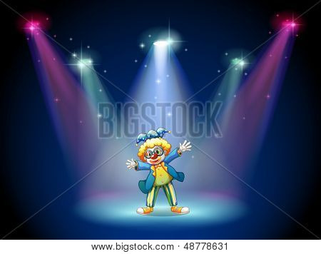 Illustration of a man dressing up as a clown at the stage