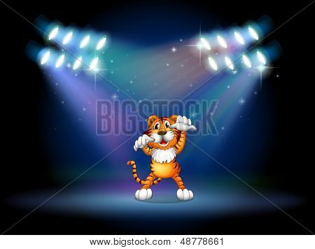 Illustration of a tiger raising her hands at the stage under the spotlights